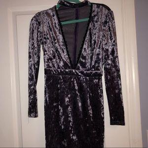 Purple suede mini dress